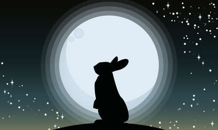 Vector illustration of silhouettes of a rabbit looking at the full moon. Night sky with stars and milky way.Vector illustration background. Banco de Imagens - 92216082