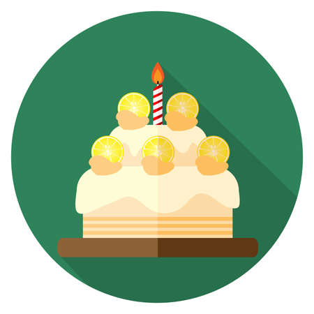 Vector illustration of lemon birthday cake icon flat design on green background in round shape. Cake for birthday celebration with one candle. Happy birthday card.