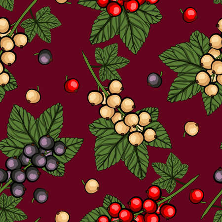 Redcurrant, Blackcurrant and lWhitecurrant with green stem and leaves on red background. Seamless pattern. Vector illustration.