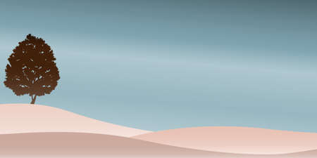 Vector illustration of Lonely brown tree on the brown hill and blue sky. Landscape background.