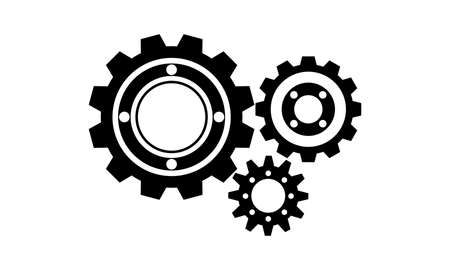 Vector Illustration of Gears Icon. Black cogs (gears) on white background. Ilustracja