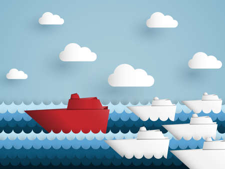 Vector illustration of leadership concept with origami red battleship leading among white in the sea  イラスト・ベクター素材
