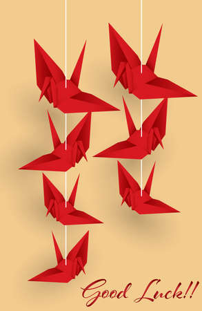 Vector illustration of hanging origami paper cranes in red color and