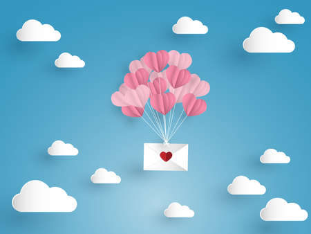 Vector illustration of pink tone balloons in a heart shape hang envelope floating on blue sky and white cloud background. Concept of love and valentine day, paper art style.