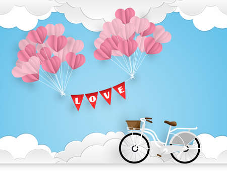 Vector illustration of white bicycle and heart shape balloon on blue sky with cloud background. Concept of love and valentine day.