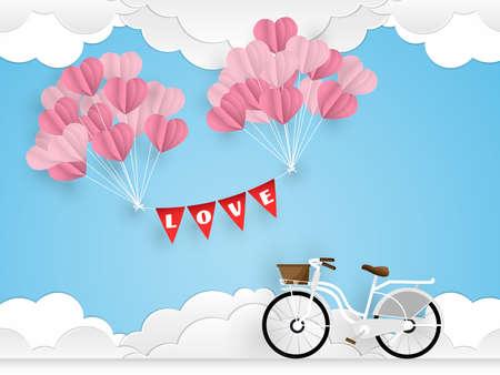 Vector illustratie van witte fiets en hartvormballon op blauwe hemel met wolkenachtergrond. Concept van liefde en valentijn dag.