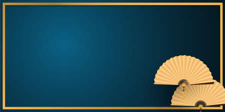 Gold Chinese folding fans in gold frame on blue background. vector illustrator in flat design for Chinese New Year card or background.