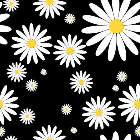 White daisies seamless vector pattern on a black background. Daisy in flat design. Tiny flowers seamless pattern.