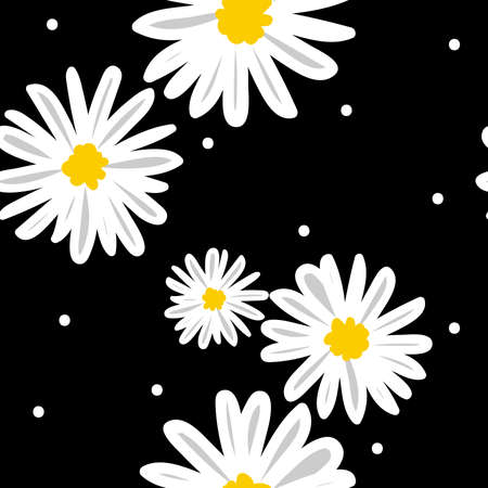 White daisies and white circle seamless vector pattern on a black background.