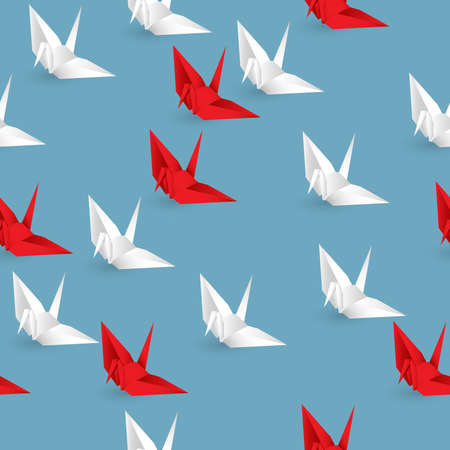 Vector illustration of seamless red and white paper origami bird on blue backgroud Illustration