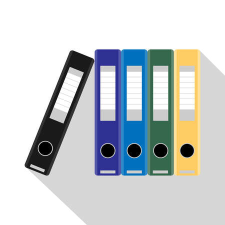 Flat Vector Illustration of colored ring binders on white background. Office folders.