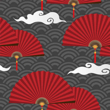 Seamless pattern vector illustration of Red Chinese folding fans Çizim