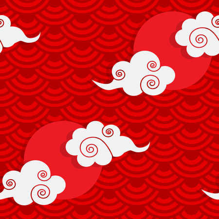 Seamless pattern vector illustration of moon or sun and cloud on chinese wave circle background. Design for Chinese New Year card or background.