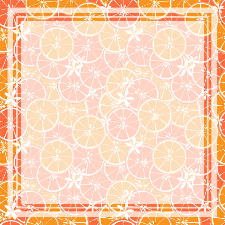 Vector illustration of square white frame and rectangle label on citrus fruit background. Tropical fresh and juicy orange citrus fruit closely spaced background and flower in flat design.  イラスト・ベクター素材