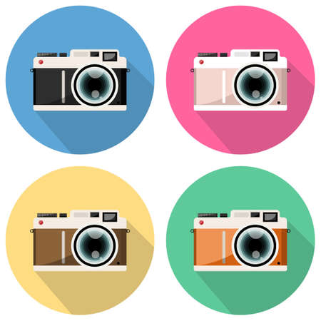 Set of Camera vector icon illustration, Flat style with long shadows on colored background.