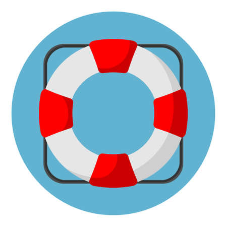 Vector illustration of lifebuoy icons in flat style