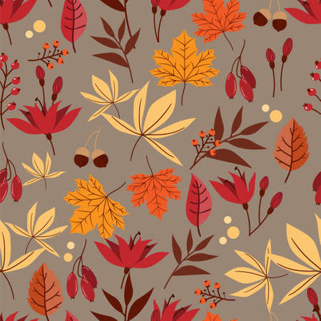 Vector floral seamless pattern with autumn leaves, berries, acorn and flower.