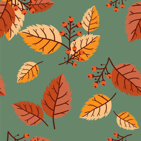 Vector floral seamless pattern with autumn leaves, berries and acorn.