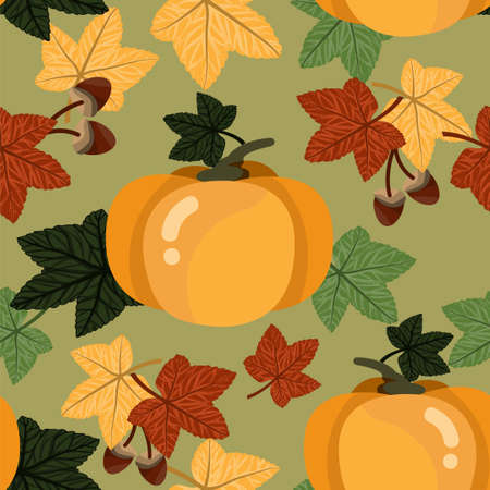 Vector floral seamless pattern with autumn leaves, acorn and pumpkin.