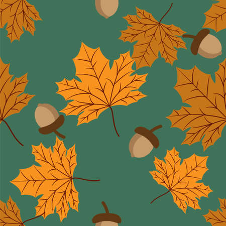 Vector floral seamless pattern with autumn leaves and acorn.
