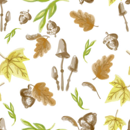 Autumn elements seamless pattern.