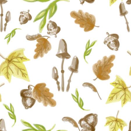Elementos de otoño de patrones sin fisuras. Ilustración de vector