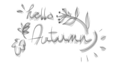 Vector illustration of Hello Autumn lettering text isolated on white background. Hello autumn sign. Calligraphy hand written hello autimn script.
