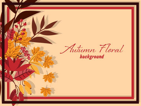 Autumn floral background with autumn leaves, flower and berries.