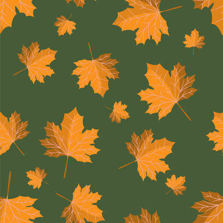 Vector floral seamless pattern with autumn leaves.