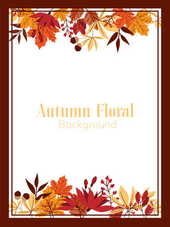 Autumn floral background with autumn leaves frame.