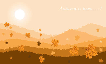 Autumn landscape background with Autumn is here text. Autumn forest landscape with fir trees at dawn.