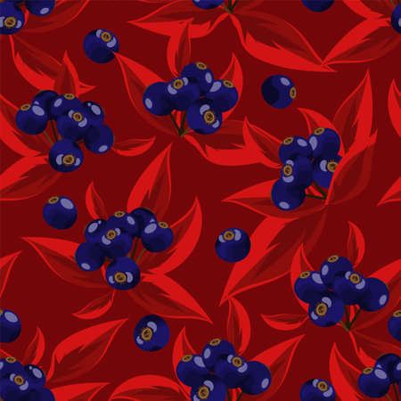 Vector floral seamless pattern with autumn leaves and berries.