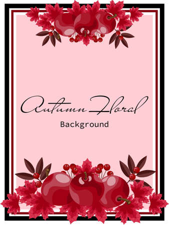 Autumn floral background with autumn leaves, apples and berries.