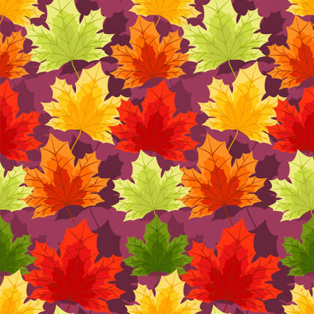 Autumn floral seamless pattern with autumn leaves.
