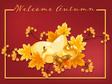 Autumn background with Welcome Autumn text with tiny flower frame with autumn leaves, pears, apples, acorns and berries.