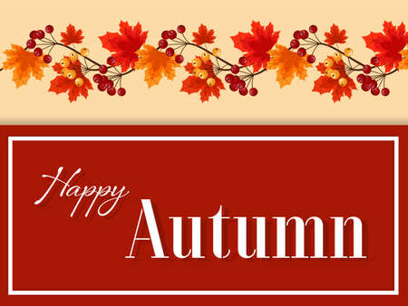 Autumn floral background with Happy Autumn text on autumn leaves and berries.