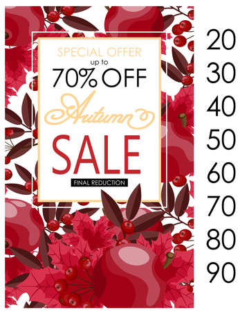 autumn sale flyer template with lettering and fall leaves fall