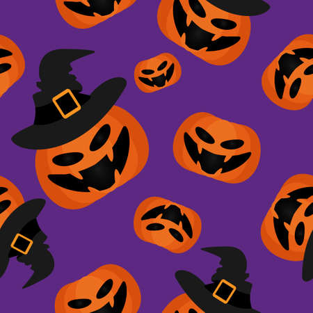 Halloween seamless pattern with cute Halloween pumpkin with witches hat.