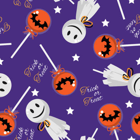 Halloween seamless pattern with Halloween Lollipop and Trick or Treat text.
