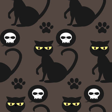 Halloween seamless pattern with Black cat, skull and footprints. Stock Illustratie