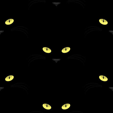 Halloween seamless pattern with yellow eye of black cat.