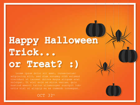 Happy Halloween and Trick or Treat text with hanging pumpkins and spider in paper art  style for poster, banner or background.  Ilustração