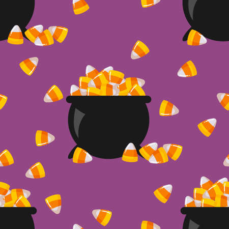 Halloween seamless pattern with candy corn in witch's cauldron.