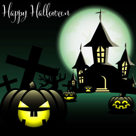 Halloween background with Haunted House with Moon and Halloween pumpkin.