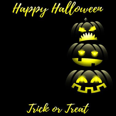Jack o lantern Halloween pumpkins background with Happy Halloween text.