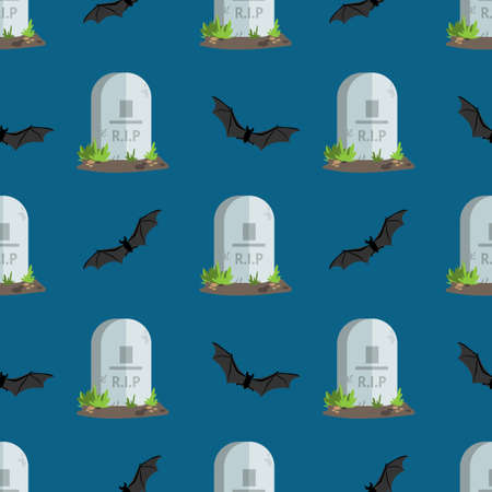 Halloween seamless pattern tombstones with R.I.P text and bat.