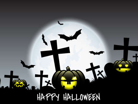 Halloween background with Jack O Lantern and Happy Halloween text. Illustration