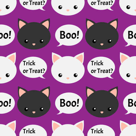 Halloween seamless pattern with black cat , Trick ir Treat and Boo text