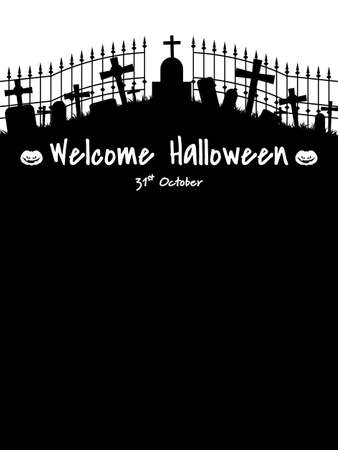 Halloween background with silhouette of graveyard and Welcome Halloween text. Illustration