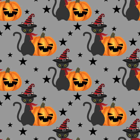 Halloween seamless pattern with black cat with witches hat and Halloween pumpkin.